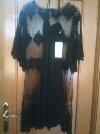 Vestido negro transparente. M/L