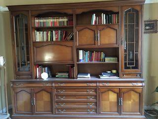 Libreria madera salon con almacenaje