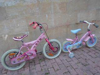 2 bicicleta barbie infantil una con ruedines