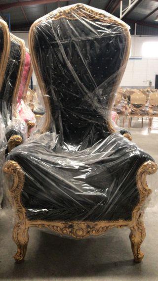 Sillon retro barroco XL oro negro