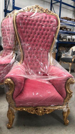 Sillon XL oro rosa retro barroco , peluquerias