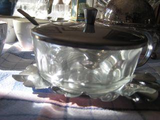 azucarero de cristal y plata