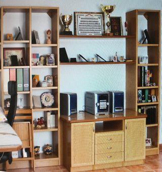 Mueble librería y tv chapado en Roble