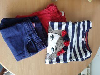 conjunto de sudadera más 2 pantalones