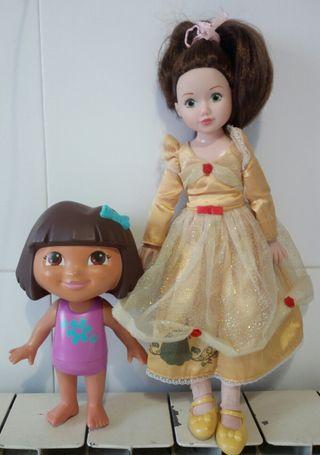 Lote de muñecas Dora exploradora y Princesa
