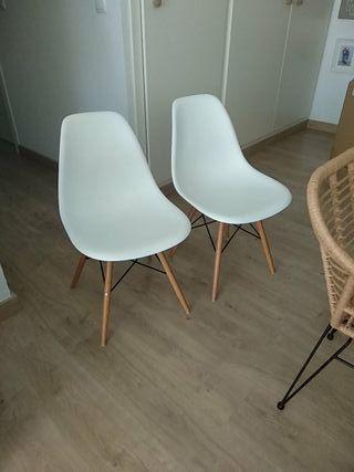 Pack de dos sillas eames color blanco