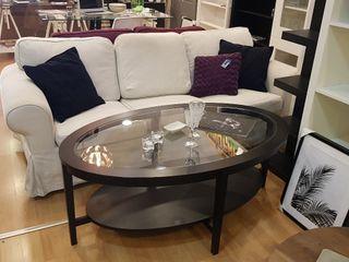mesa de centro cristal y madera