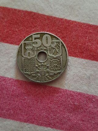 moneda de 50 céntimos de 1949