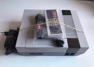 Nintendo NES con mando y cables