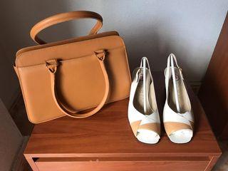 conjunto de bolso y zapatos de piel