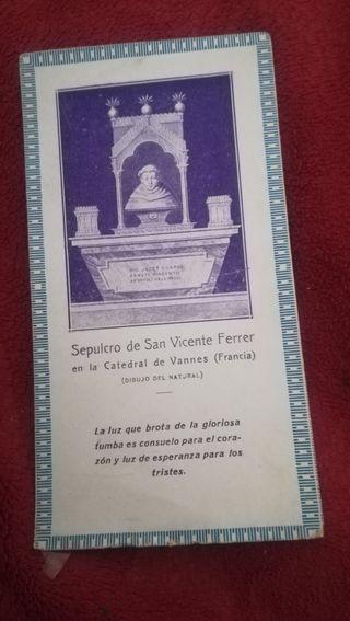 Ant. recordatorio, Sepulcro de San Vicente Ferrer