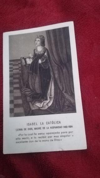 Antiguo recordatorio de 1953,Isabel la Católica
