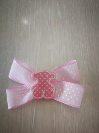 lazo rosa puntitos oso