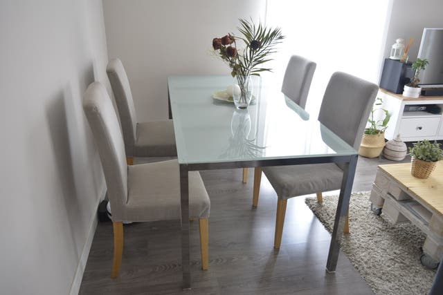 Mesa grande de cristal TORSBY IKEA comedor/oficina de segunda mano ...
