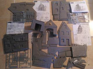 Lote 5 casas de miniart 1/35 para dioramas