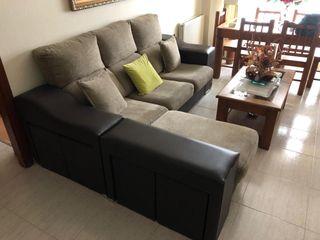 Sofá chaise longue color marrón