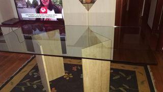 Mesa rectangular cristal y pies de mármol