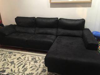 Sofá negro Chaise-longue