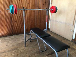 Kit pesas y banco + varios