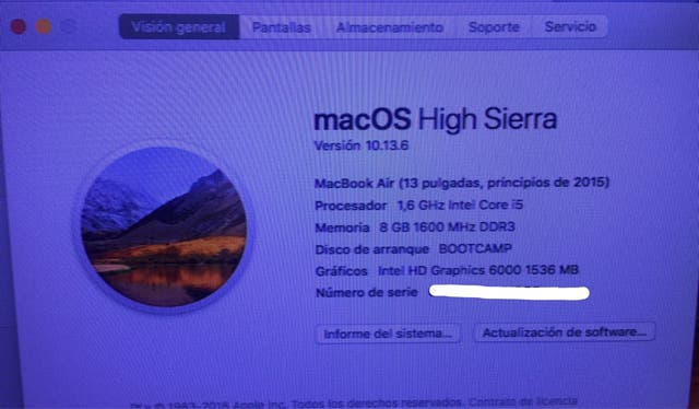 Mac book air 2015 i5 8gb Ram (pant.dañada)