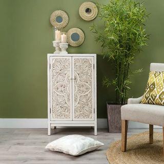 Mueble diseño entrada cómoda madera grabada