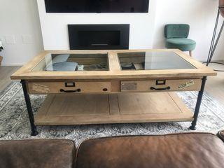 Mesa de centro madera natural y hierro forjado