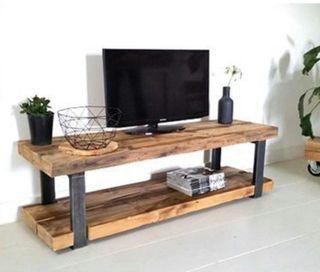 Mueble tv madera acero