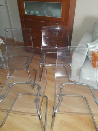 4 sillas modelo Tobias color transparente