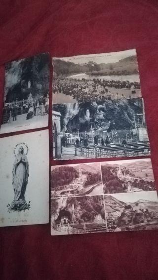 5 antiguas postales de Lourdes