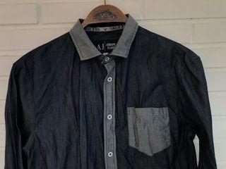 Camisa azul cuello gris ARMANI JEANS talla M