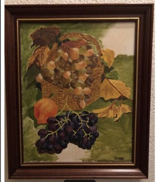 Cuadro bodegón uvas pintado al óleo