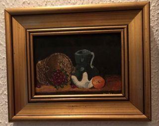 Cuadro bodegón con naranja Al óleo
