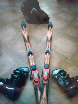 Esquís de mujer, botas de esquí de mujer y bolsa