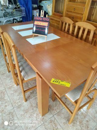 conjunto mesa extensible +5 sillas