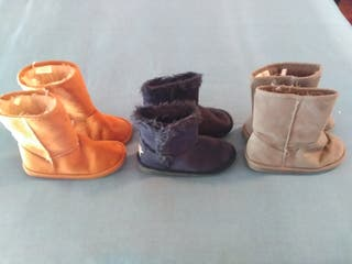 Lote de 3 pares de botas de niña número 33-34