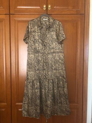 Vestido satén estampado leopardo