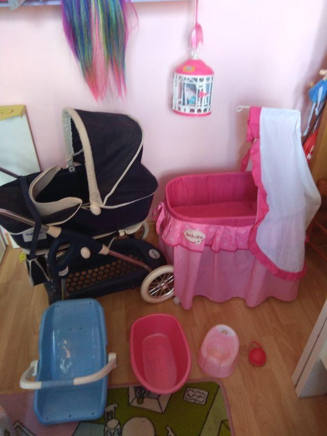 carrito muñecos inglesina ,cuna,bañera,maxicosi y