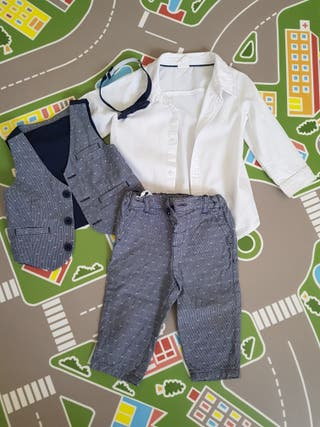 Conjunto pantalón, chaleco y camisa bebé (evento)