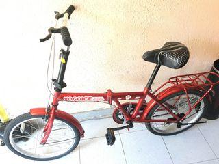 """Bici plegable acero roja rueda 20"""" sin cambio"""