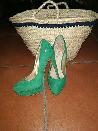 Zapatos terciopelo verde