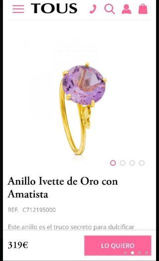 Anillo Tous Ivette de oro Amatista.