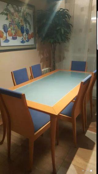 Mesa madera MACIZA con cristal y 6 sillas