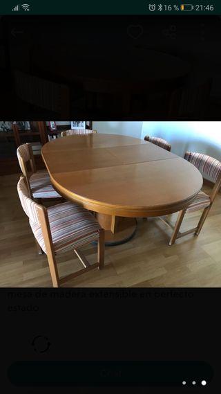 mesa de madera buena y 6 sillas