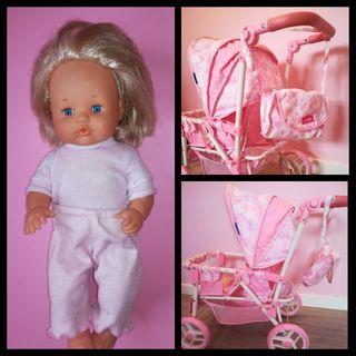 muñeca Nenuco y carrito gemelar de muñecas