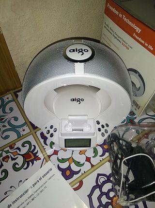 Radio reloj despertador con alarma, base para iPod