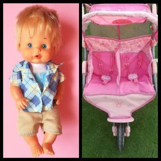 muñeco Nenuco y carrito gemelar de muñecas