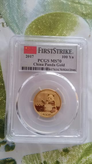 Moneda oro 100 yuan panda 2017 PCGS MS70 1/4 OZ