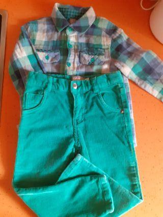 conjunto pantalón y camisa niño 2 años