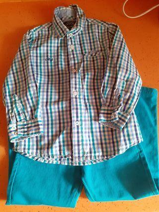 conjunto pantalón y camisa 2 años