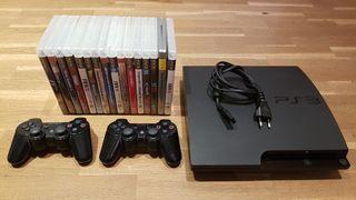 PS3 320 Gb Slim + 2 mandos + pack juegos